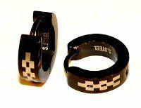 Náušnice ocel - černá - šachovnice TS0003 001