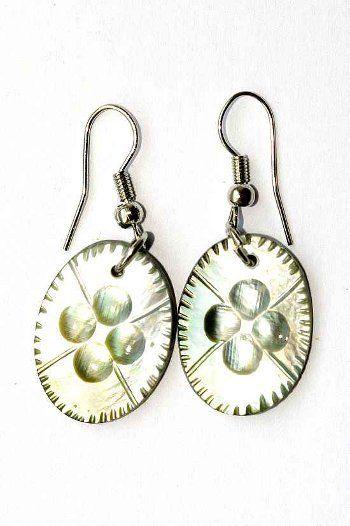 Náušnice perleťová s ocelovým ouškem IS0011 005