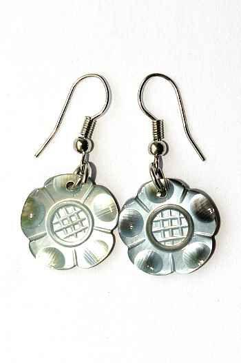 Náušnice perleťová s ocelovým ouškem IS0011 015