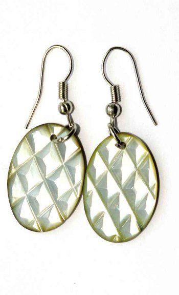 Náušnice perleťová s ocelovým ouškem IS0011 001