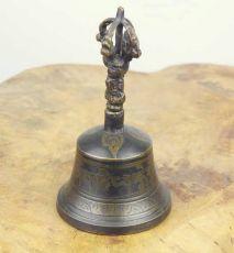 Zvonek výška 13 cm, antik patina Nepál