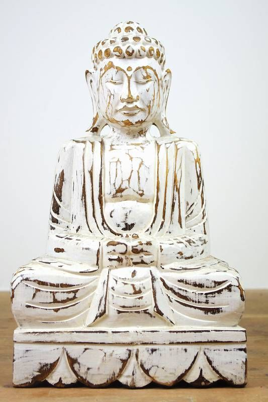 Buddha 40 cm, albesia whitewash, Indonésie