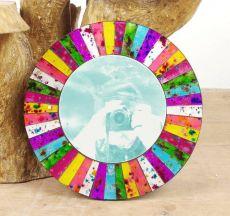 Dekorativní interiérové zrcadlo - skleněná mozaika kulaté 40 cm