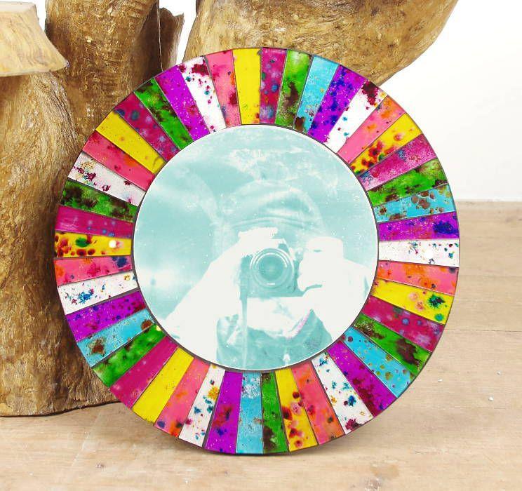 Dekorativní interiérové zrcadlo - skleněná mozaika kulaté 40 cm ID0005 01 001