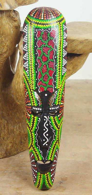 Maska australský ethno dekor, albesia Indonésie ID0163 001