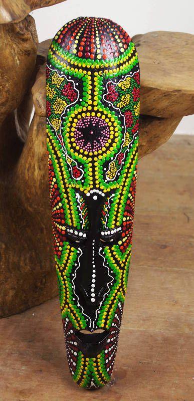 Maska australský ethno dekor, albesia Indonésie ID0163 003