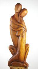 Socha MILENCI abstrakt, 81 cm, dřevo Indonésie