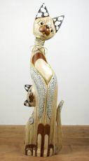 Soška KOČKA S KOTĚTEM  105 cm, kývací hlava, Indonésie