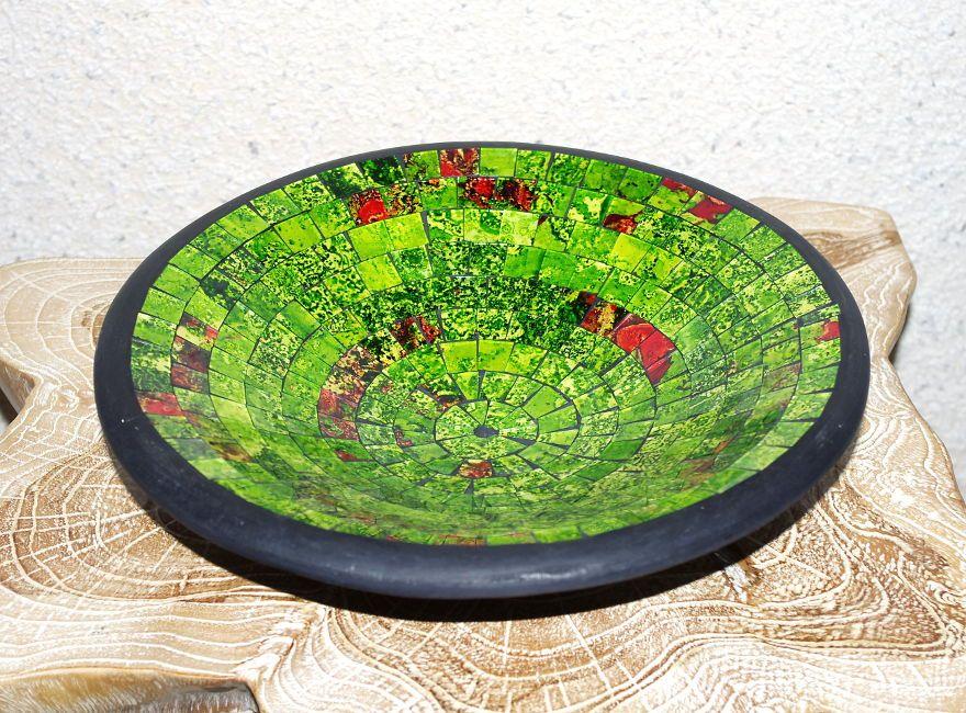Mísa se skleněnou mozaikou velká - zelená, terracota, keramika Lombok, Indonésie ID1604101