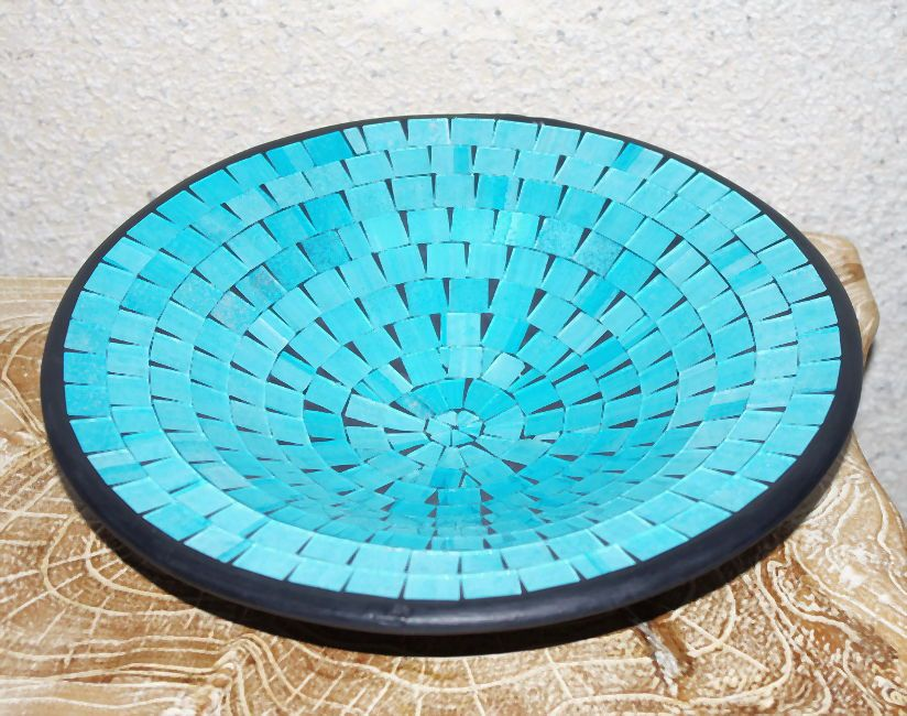 Mísa se skleněnou mozaikou maxi - tyrkysová, terracota, keramika Lombok, Indonésie ID1604101