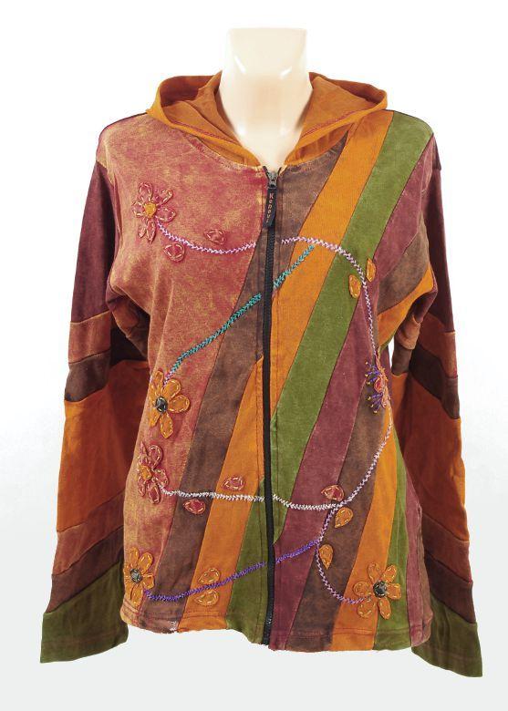 Bundička - mikina FLOWER RAINBOW, ruční práce Nepál NT0024 00 023 KENAVI