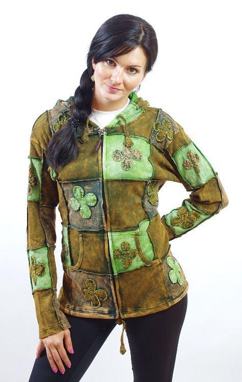 Dámská mikina sešívaná patchwork, ruční práce, Nepál NT0023 04 003