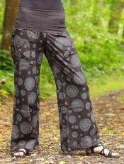 Dámské kalhoty SUMMERY MANDALA, ruční potisk, bavlna shyama z Nepálu