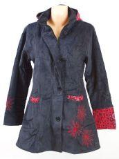 Dámský manchesterový kabátek SNOW BALL s ručními kanvasovými potisky a výšivkami, ...