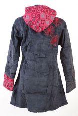 Dámský manchesterový kabátek SNOW BALL s odepínací kapucí a ručními kanvasovými potisky a výšivkami, Nepál NT0014 13 002 KENAVI