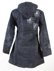 Dámský manchesterový kabátek SNOW BALL s odepínací kapucí a ručními kanvasovými potisky a výšivkami, Nepál NT0014 13 003 KENAVI