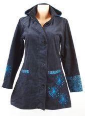 Dámský manchesterový kabátek SNOW BALL s ručními kanvasovými potisky a výšivkami, Nepál