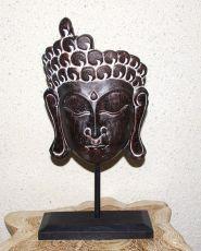 Dekorace Buddhova tvář  - stojan, dřevořezba Indonésie  - hnědá patina