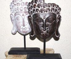Dekorace Buddhova tvář - stojan, dřevořezba Indonésie - hnědá patina ID1608204 01