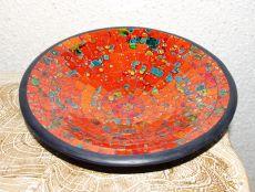 Mísa se skleněnou mozaikou velká - cihlová červnená, terracota, keramika Lombok, Indonésie