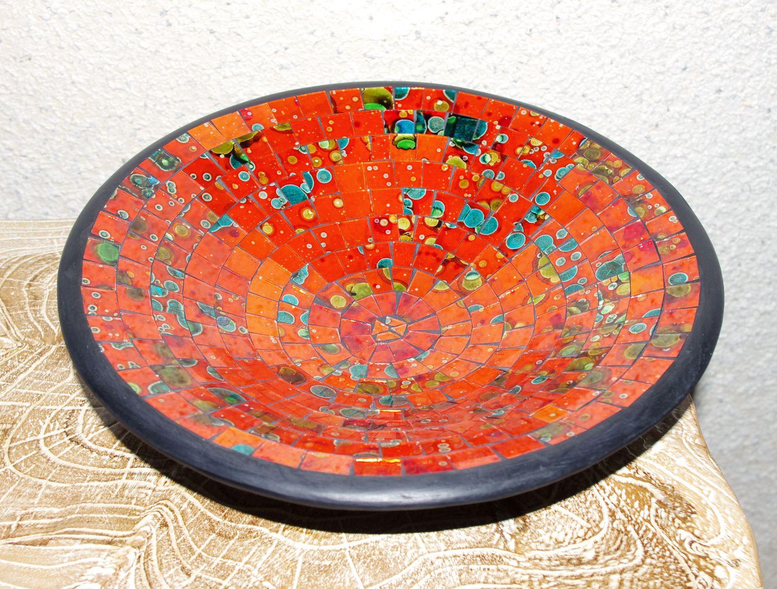 Mísa se skleněnou mozaikou velká - cihlová červená, terracota, keramika Lombok, Indonésie ID1604101
