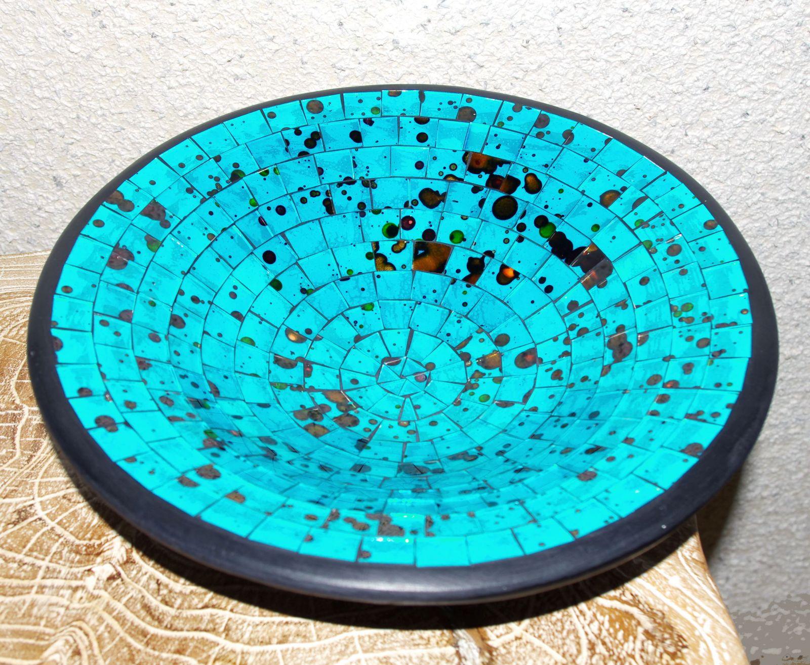 Mísa se skleněnou mozaikou - tmavý tyrkys, terracota, keramika Lombok, Indonésie ID1604101