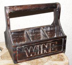 Přepravka - stojan na víno, dřevěná dekorace