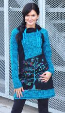 Šatová tunika MAGIC, 100% bavlna, ruční práce Nepál