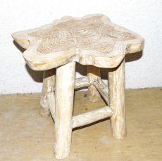 Stolička NATUR teakové dřevo, bílá patina, ruční kusová výroba