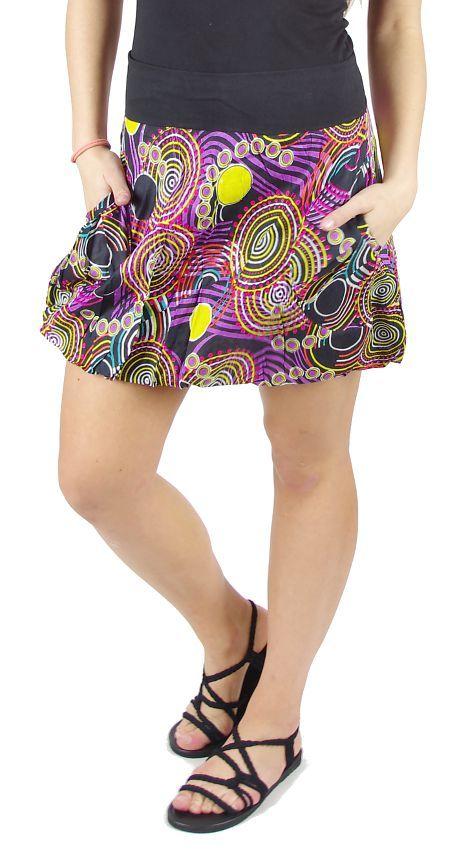 Dámská letní krátká sukně BALOON 1 MINI s kapsami, bavlna Nepál NT0101 00B 002 KENAVI