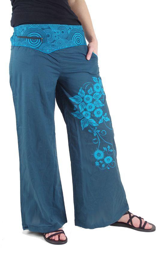 Dámské kalhoty CATALPA, ruční potisk Nepál NT0053 32 002 KENAVI