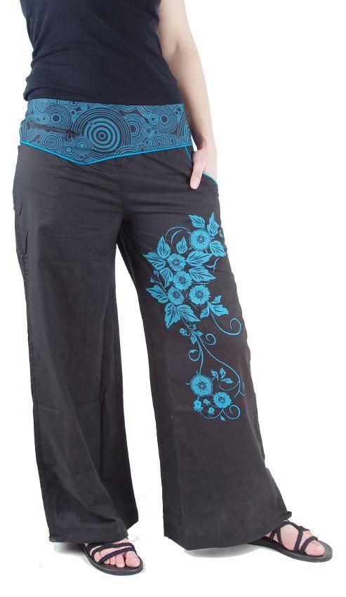 Dámské kalhoty CATALPA, ruční potisk Nepál NT0053 32 003 KENAVI