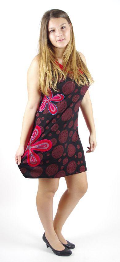 Dámské šaty z Nepálu FLORIA červené, 100% bavlna NT0048-59-001 KENAVI