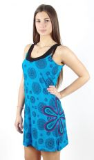 Dámské šaty z Nepálu FLORIA modré, 100% bavlna