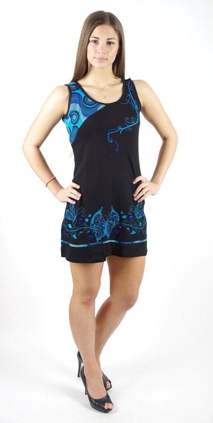 Dámské šaty z Nepálu SPIRIT, 100% bavlna, černá - modrá NT0048-61-001 KENAVI