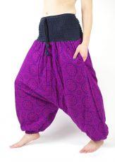 Kalhoty  turecké CIRCLES, ruční potisk s patchworkem,  Nepál