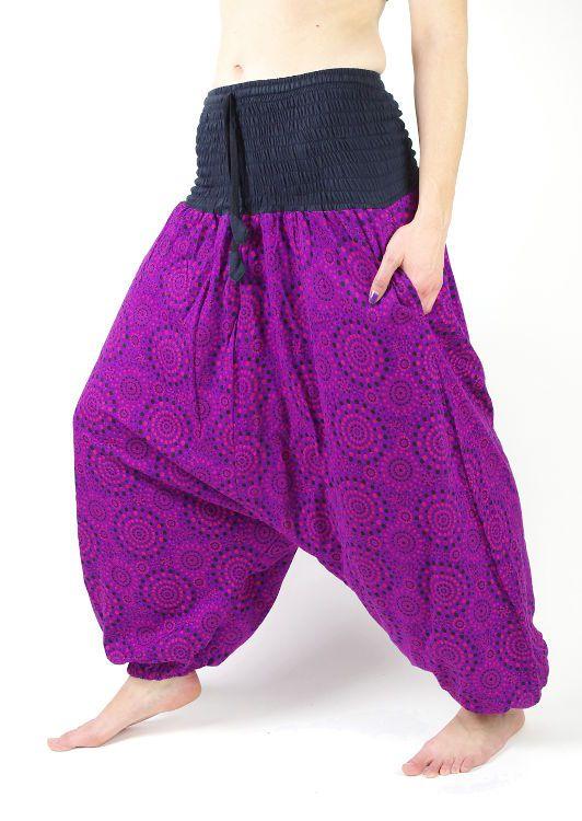 Kalhoty turecké CIRCLES, ruční potisk s patchworkem, Nepál NT0096 00 009 KENAVI
