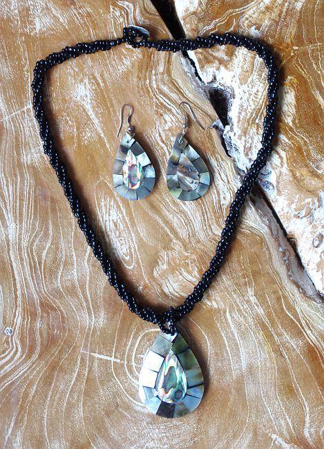 Sada perličkový náhrdelník a náušnice z perleti a resinu ID1609102 001