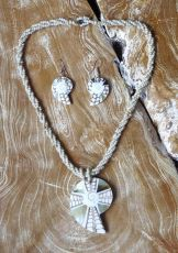Sada perličkový náhrdelník a náušnice z perleti a resinu