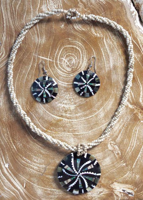 Sada perličkový náhrdelník a náušnice z perleti a resinu ID1609102 013