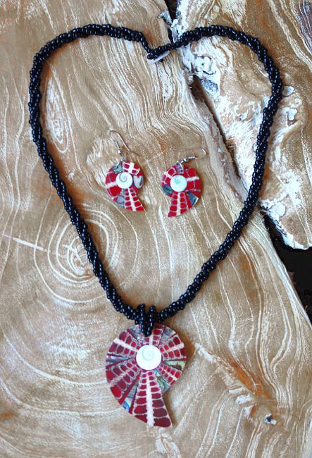 Sada perličkový náhrdelník a náušnice z perleti a resinu ID1609102 014