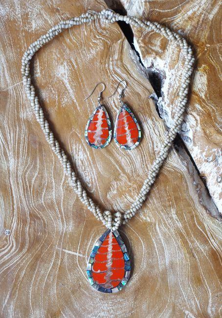 Sada perličkový náhrdelník a náušnice z perleti a resinu ID1609102 004