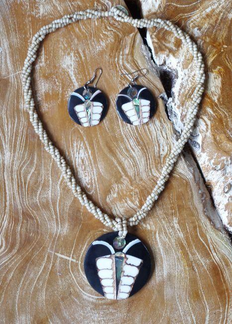 Sada perličkový náhrdelník a náušnice z perleti a resinu ID1609102 005