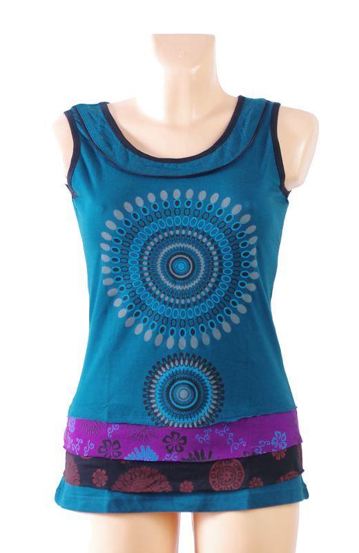 Dámské tričko bez rukávů SOMA, 100% bavlna, ruční tisk Nepál NT0100 37 001 KENAVI