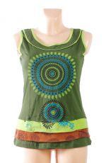 Dámské tričko bez rukávů SOMA, 100% bavlna, ruční tisk Nepál