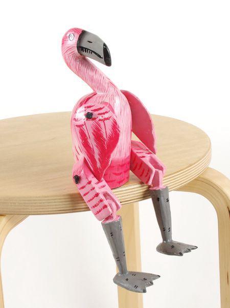 Sedící dřevěné zvířátko - plameňák ID1603401 05