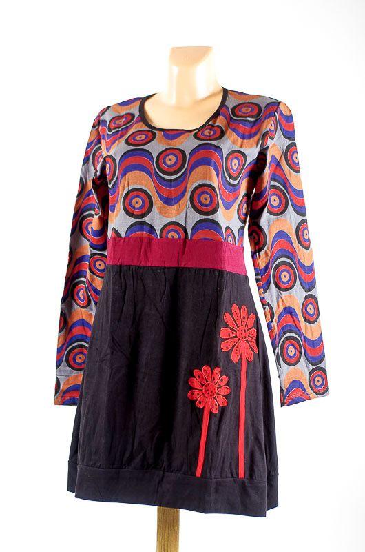 Dámské šaty - tunika WAVE dlouhý rukáv, ruční práce Nepál NT0048-83-001 KENAVI