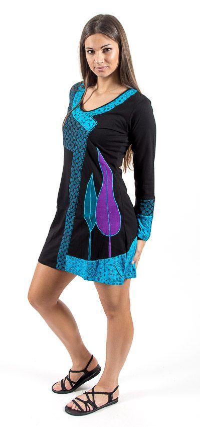 Dámské šaty - tunika CLOUDY dlouhý rukáv, ruční práce Nepál NT0048 64 001 KENAVI