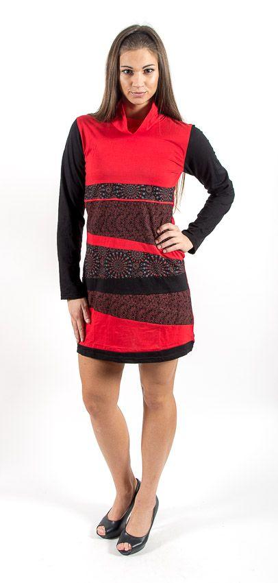 Dámské šaty - tunika ROSSANA dlouhý rukáv, ruční práce Nepál NT0048 75 001 KENAVI