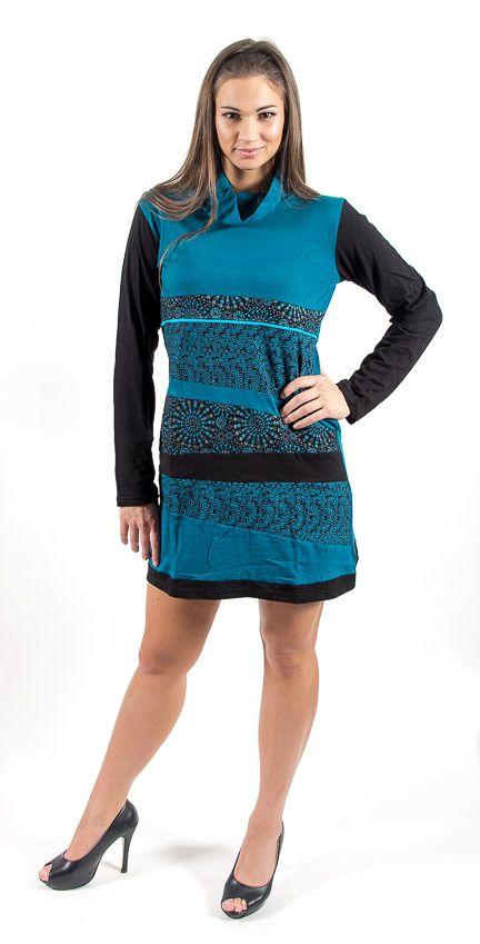 Dámské šaty - tunika ROSSANA dlouhý rukáv, ruční práce Nepál NT0048 75 002 KENAVI